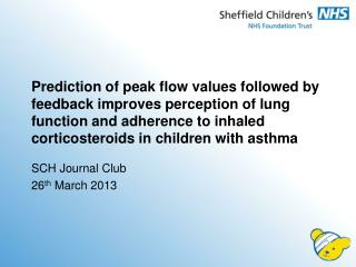 SCH Journal Club 26 th  March 2013