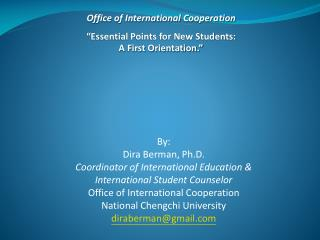 """Office of International Cooperation """"Essential Points for New Students: A First Orientation."""""""