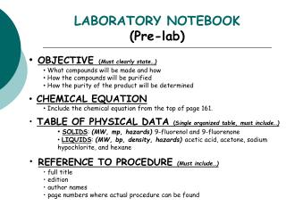 LABORATORY NOTEBOOK Pre-lab
