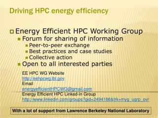 Driving HPC energy efficiency