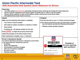Union  Pacific  Intermodal  Yard AGS (Automated Gate System) Quick Reference for Drivers