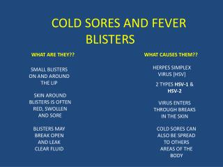 COLD SORES AND FEVER BLISTERS