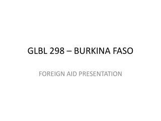 GLBL 298 – BURKINA FASO