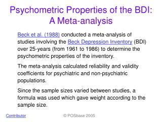 Psychometric Properties of the BDI: A Meta-analysis