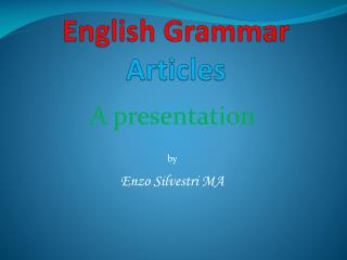 English Grammar   Articles
