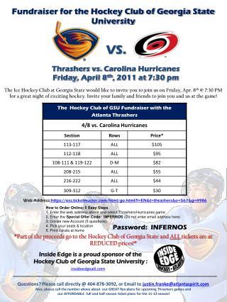 Thrashers vs.  Carolina Hurricanes Friday ,  April 8 th ,  2011 at  7:30  pm