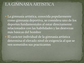 LA GIMNASIA ARTISTICA