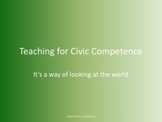 Teaching for Civic Competence