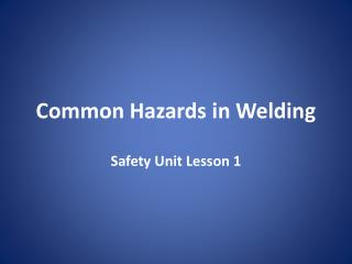 Common Hazards in Welding