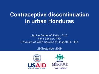 Contraceptive discontinuation in urban Honduras