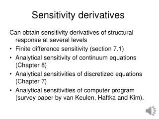 Sensitivity derivatives