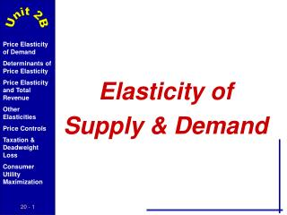 Elasticity of  Supply & Demand