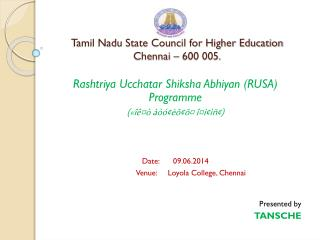 Tamil Nadu State Council for Higher Education   Chennai – 600 005.