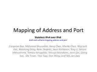 Mapping of Address and Port