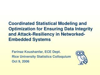 Coordinated Statistical Modeling and Optimization for Ensuring ...