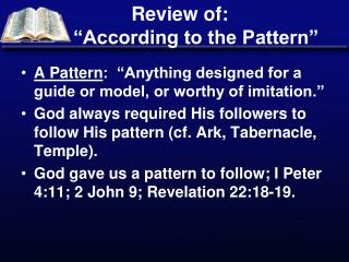 "Review of:         ""According to the Pattern"""
