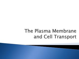 The Plasma Membrane  and Cell Transport