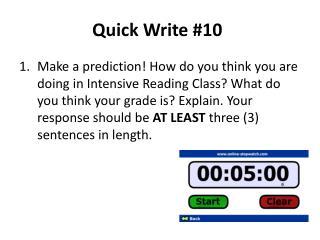 Quick Write #10