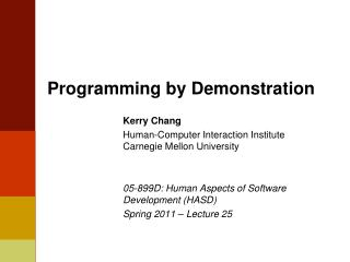 Programming  by Demonstration