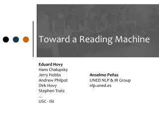 Toward a Reading Machine