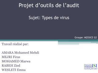 Projet d'outils de l'audit Sujet: Types de virus Groupe: M2SSICE G2