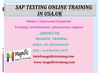Sap TESTING Online Training IN USA,UK