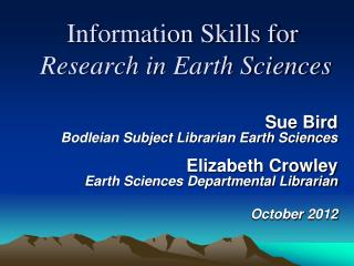 Information Skills for Research in Earth Sciences