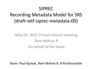 SIPREC Recording Metadata Model for SRS (draft- ietf -siprec-metadata-00)