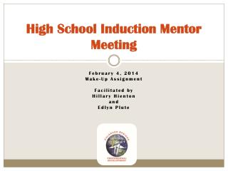 High School Induction Mentor Meeting