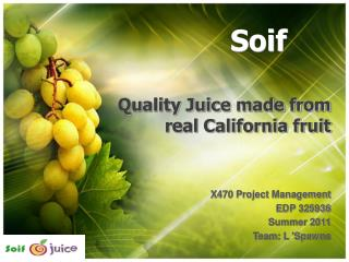 Quality Juice made from real California fruit