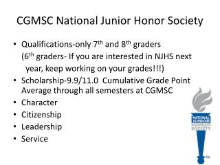 CGMSC National Junior Honor Society