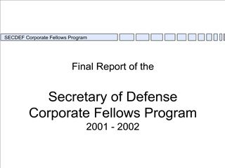 Final Report of the 1995-96 SECDEF Fellows Program