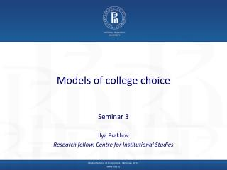 Models of college choice