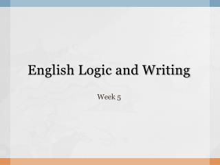 English Logic and Writing
