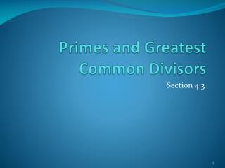 Primes and Greatest Common Divisors