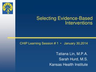 Selecting Evidence-Based Interventions