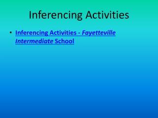 Inferencing Activities