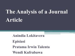 The Analysis of a Journal Article