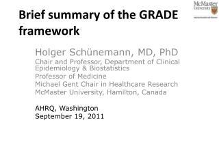 Brief summary of the GRADE framework
