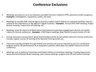 Conference Exclusions