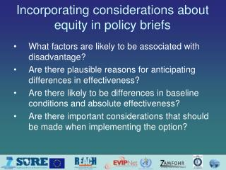 Incorporating considerations about equity in policy briefs