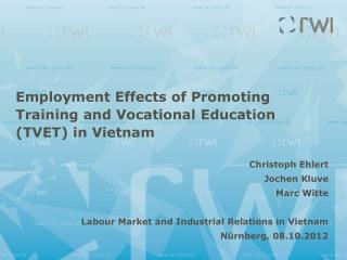 Employment  Effects  of  Promoting  Training and Vocational  Education  (TVET) in Vietnam