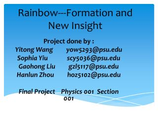 Rainbow---Formation and New Insight