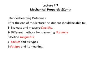 Lecture # 7 Mechanical Properties(Cont )
