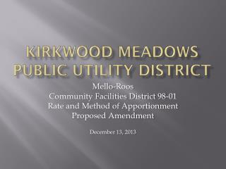 Kirkwood Meadows public utility District