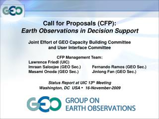 Call for Proposals (CFP):  Earth Observations in Decision Support
