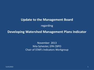 Update to the Management Board  regarding Developing Watershed Management Plans Indicator