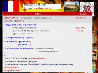 français 5H/AP   le  1-2 octobre  2012