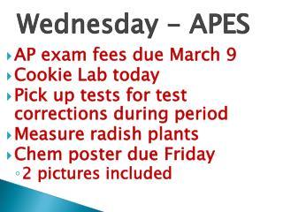 Wednesday - APES