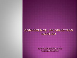 Conf�rence  DE DIRECTION DGAT-AD